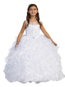 Big Girls White Embroidery Ruffled Bolero Glitter Communion Dress 14