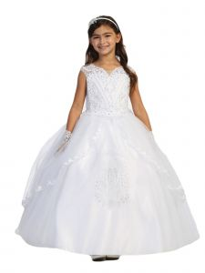 Big Girls White Lace Rhinestone Tulle Embroidered Communion Dress 8