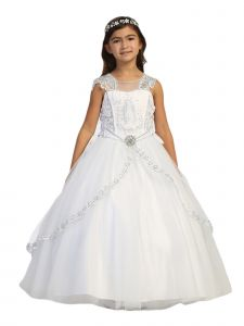 Big Girls White Embroidered Lace Split Skirt Virgin Mary Communion Dress 14