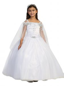 Big Girl White Off Shoulder Metallic Lace Tulle Communion Dress 7