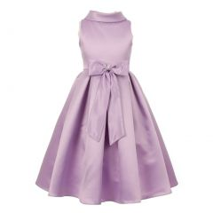 Big Girls Lavender Bridal Dull Satin Bow Brooch Flower Girl Dress 8-12