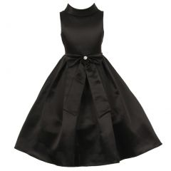 Little Girls Black Bridal Dull Satin Bow Rhinestone Flower Christmas Dress 2-6