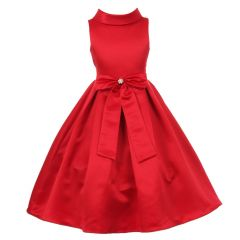 Little Girls Red Bridal Dull Satin Bow Rhinestone Flower Christmas Dress 2-6
