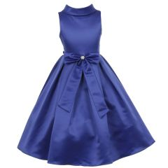 Little Girls Royal Blue Bridal Satin Bow Rhinestone Flower Christmas Dress 2-6