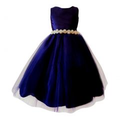 Big Girls Navy Glitter Stone Belt Pleated Top Junior Bridesmaid Dress 8-16