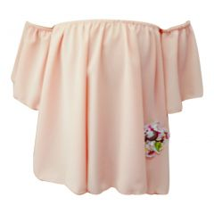 Little Girls Peach Flower Patch Off Shoulder Large Sleeve Blouse Top 4-6