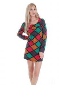 Cathaya Women's Multi Color Diamond Pattern Square Neck Sweater Dress S-XL