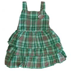 Carter's Little Girls Green Plaid Sequin Heart Adornment Sleeveless Dress 4-6X