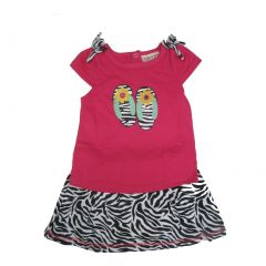 Carter's Baby Girls Fuchsia Top Black Zebra Pattern 2 Pc Skirt Outfit 12-24M