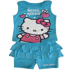 Sanrio Little Girls Blue Kitty Dotted Ruffle Detail 2 Pc Shorts Outfit 4-6X