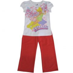 Disney Little Girls White Red Tinker Bell Butterfly Print 2 Pc Pant Set 4-6X