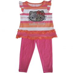 Sanrio Little Girls Coral Fuchsia Stripe Glitter Hello Kitty Pant Set 2-4T