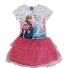Disney Little Girls White Pink Anna Elsa Print Tutu Ruffle Dress 5-6X