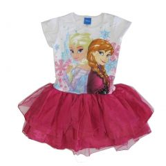 Disney Big Girls Fuchsia Elsa Anna Frozen Print Ruffle Tutu Dress 7-12