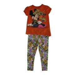 Disney Little Girls Orange Minnie Mouse Animal Print 2 Pc Pant Outfit 4-6X