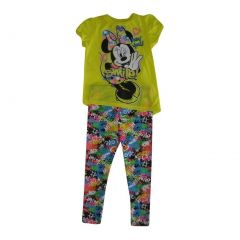 """Disney Little Girls Yellow Minnie Mouse """"Love"""" Print 2 Pc Pant Outfit 4-6X"""
