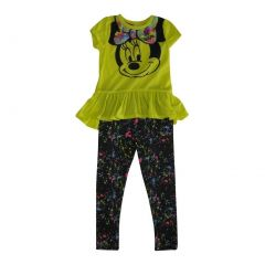 Disney Little Girls Yellow Minnie Print Ruffle Top 2 Pc Pant Outfit 4-6X