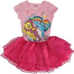 Hasbro Little Girls Pink My Little Pony Print Short Sleeved Tutu Dress 10/12