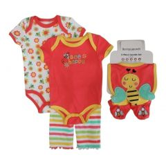 Buster Brown Brown Girls Coral Bodysuits Pant Bootie Bib 5 Pc Layette Set 0-9M