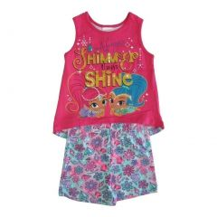 Nickelodeon Little Girls Fuchsia Shimmer Shine Sleeveless 2 Pc Outfit Set 4-6X