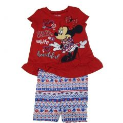 Disney Little Girls Red Minnie Ruffle Bow Motif Print 2 Pc Shorts Outfit 2-4T