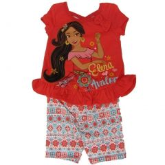Disney Little Girls Orange Elena Of Avalor Ruffle Bow 2 Pc Shorts Outfit 2-4T