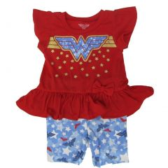 DC Comics Little Girls Red Wonder Woman Logo Ruffle 2 Pc Shorts Outfit 2-4T