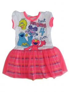 "Sesame Street Little Girls White Pink ""Best Friends 4 Ever"" Tutu Dress 2-4T"