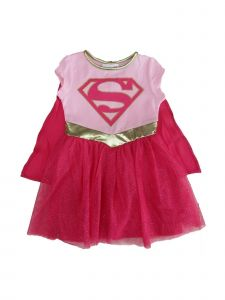 DC Comics Big Girls Pink Fuchsia Supergirl Logo Print Cape Tutu Dress 10-16