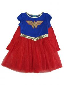DC Comics Big Girls Royal Blue Red Wonder Woman Logo Cape Tutu Dress 10-16