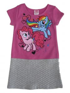 My Little Pony Little Girls Fuchsia Gray Cartoon Inspired Print Dress 4-6X