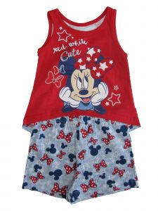 Disney Baby Girls Red White Minnie Sleeveless Top 2 Pc Shorts Outfit 12-24M