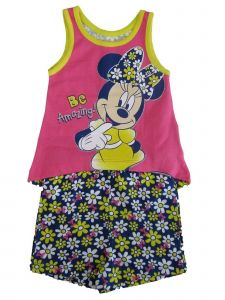 "Disney Baby Girls Yellow Pink Minnie ""Be Amazing"" Top 2 Pc Shorts Outfit 12-24M"