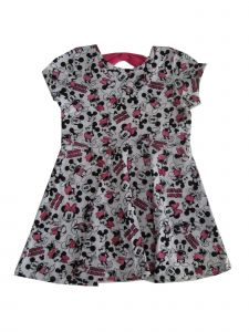Disney Little Girls White Pink Minnie Mouse Print Short Sleeve Dress 2-4T