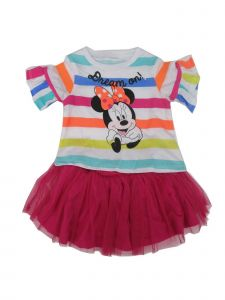 Disney Little Girls Multi Color Stripe Minnie Mouse 2 Pc Skirt Outfit 2-4T