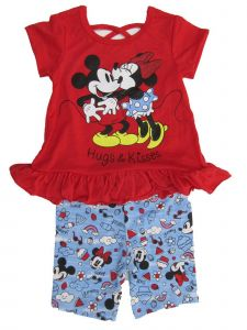Disney Little Girls Red Minnie Mickey Print Ruffle Top 2 Pc Pant Outfit 4-6X