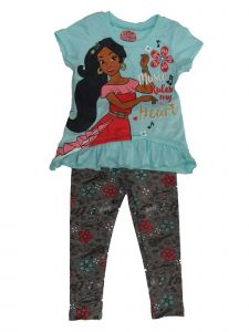 Disney Little Girls Blue Gray Elena Of Avalor Short Sleeve Outfit Set 2T-4T