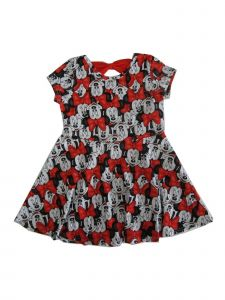 Disney Little Girls White Red Minnie Mouse Print Casual Cotton Dress 4-6X