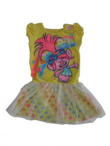 DreamWorks Little Girls Yellow Trolls Heart Print Overlaid Tutu Dress 4-6X