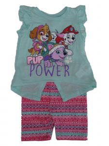 Nickelodeon Little Girls Blue Pink Paw Patrol Print 2 Pc Pant Outfit 2-4T