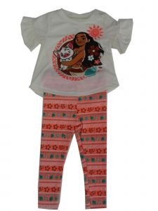 Disney Little Girls White Coral Moana Motif Print 2 Pc Legging Outfit 2-4T