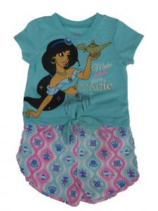Disney Little Girls Blue Jasmine Oriental Motif Print 2 Pc Shorts Outfit 2-4T