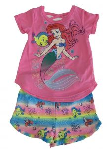Disney Little Girls Pink Ariel Little Mermaid T-Shirt 2 Pc Shorts Outfit 2-4T