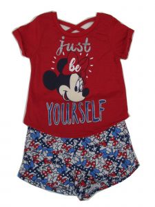 Disney Little Girls Red Minnie T-Shirt Bows Print 2 Pc Shorts Outfit 2-4T