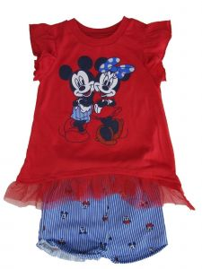 Disney Little Girls Red Mickey Minnie Mesh Trim Top 2 Pc Shorts Outfit 4-6X