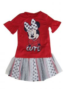 Disney Little Girls Red Minnie Polka Dotted Overlaid Skirt 2 Pc Shirt Set 4-6X