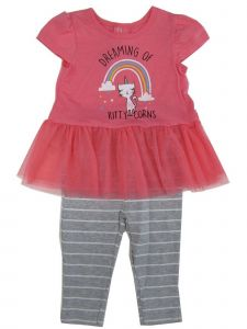 Weeplay Baby Girls Gray Pink Kitty Unicorn Skirted Top 2 Pc Pant Outfit 12-24M