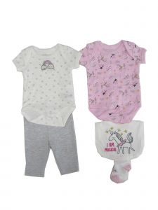 Weeplay Baby Girls Pink Rainbow Unicorn Bodysuit Pant Bib Socks 5 Pc Set 0-9M