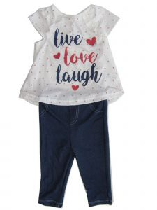 Weeplay Baby Girls White Live Love Laugh Print Top 2 Pc Pant Outfit 12-24M
