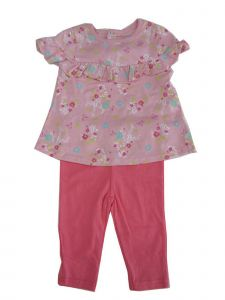 Weeplay Baby Girls Pink Floral Print Ruffled Trim 2 Pc Pant Outfit 12-24M